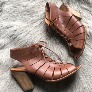 New Paul Green Cosmo brown peep toe sandals 5.5 8